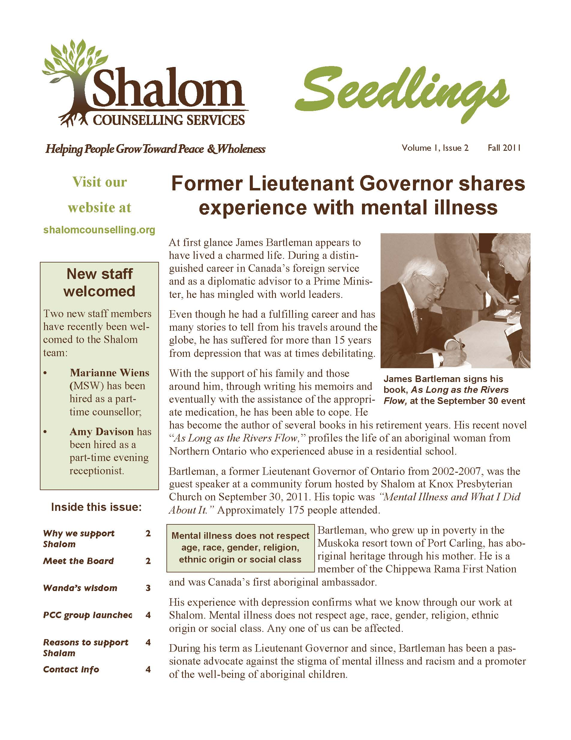 Fall 2011 Seedlings Newsletter