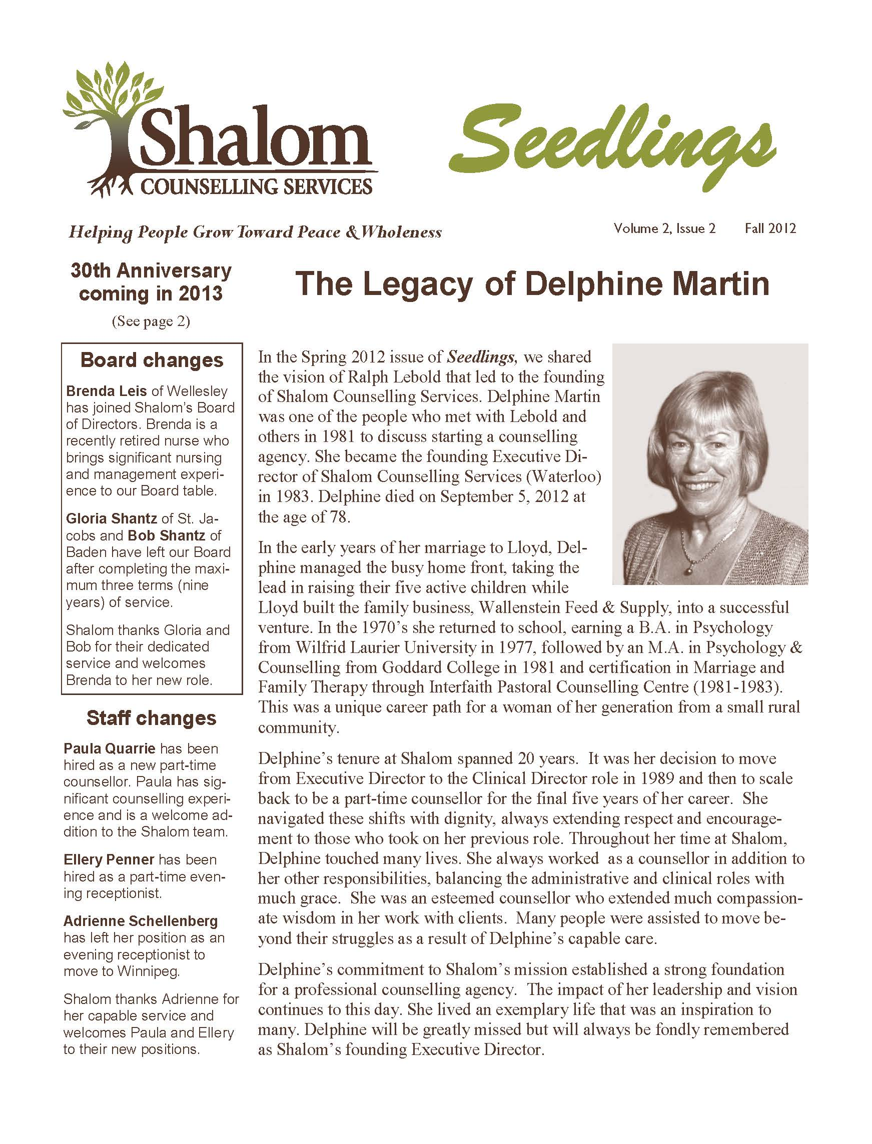 Fall 2012 Seedlings Newsletter