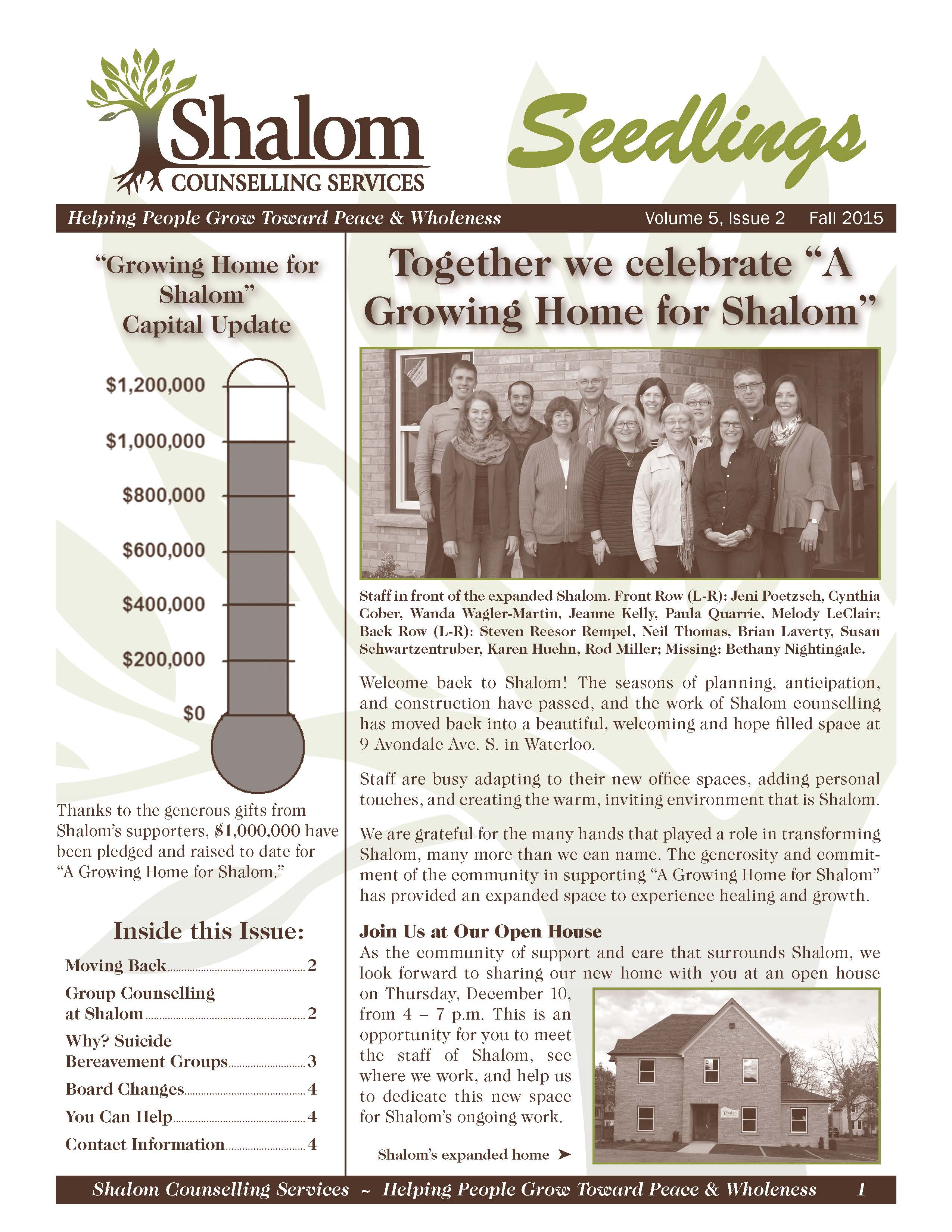 Fall 2015 Seedlings Newsletter