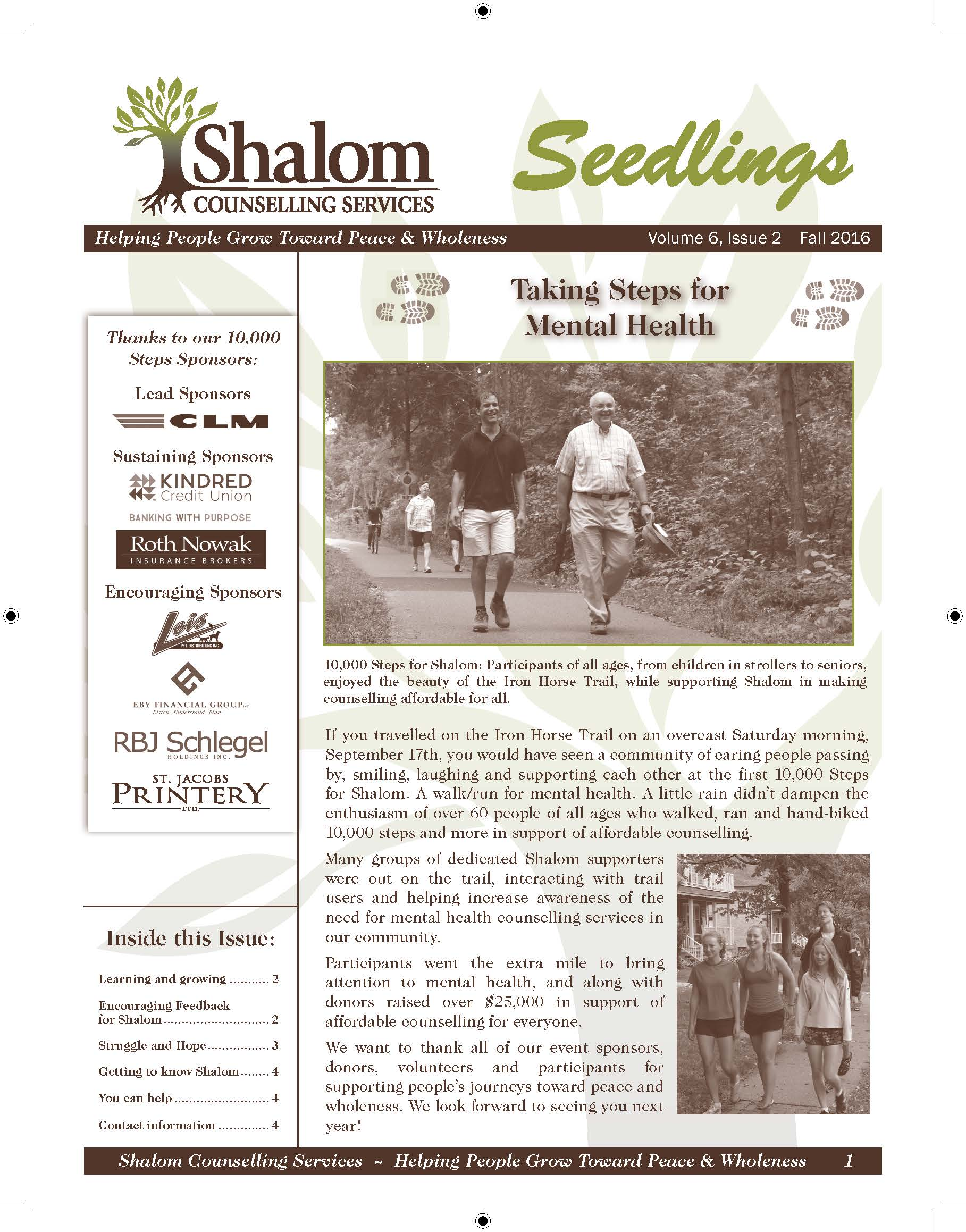 Fall 2016 Seedlings Newsletter