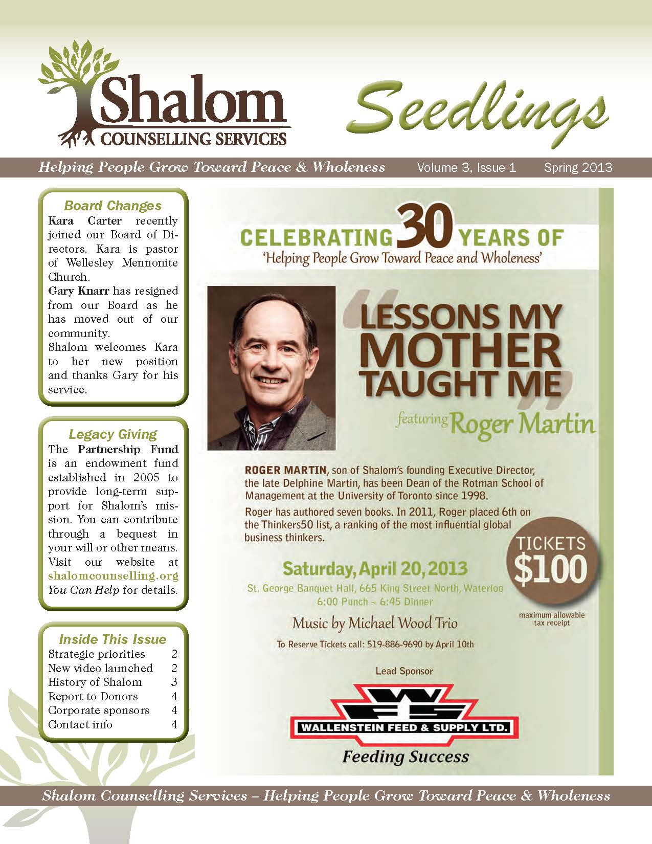 Spring 2013 Seedlings Newsletter